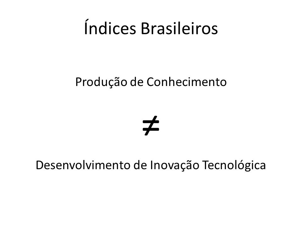 Índices Brasileiros Produção de Conhecimento Desenvolvimento de Inovação Tecnológica