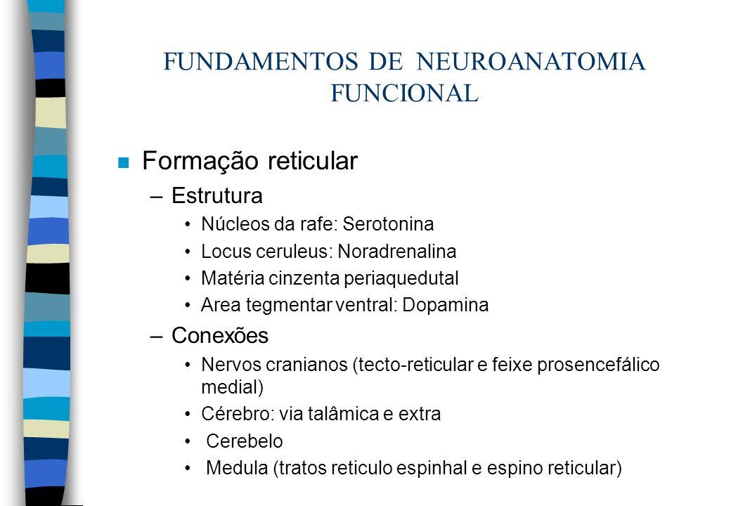 n Formação reticular –Estrutura Núcleos da rafe: Serotonina Locus ceruleus: Noradrenalina Matéria cinzenta periaquedutal Area tegmentar ventral: Dopam
