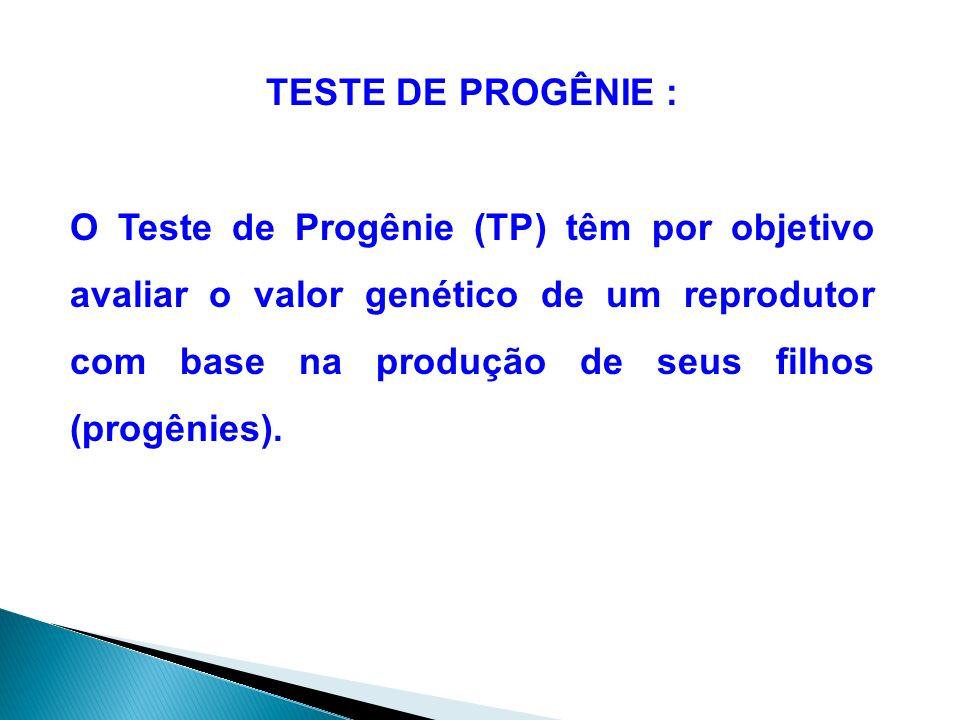 TESTE DE PROGÊNIE : O Teste de Progênie (TP) têm por objetivo avaliar o valor genético de um reprodutor com base na produção de seus filhos (progênies