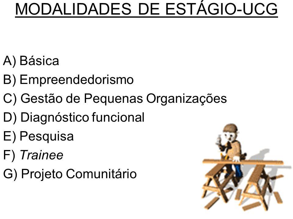 MODALIDADES DE ESTÁGIO-UCG A) Básica B) Empreendedorismo C) Gestão de Pequenas Organizações D) Diagnóstico funcional E) Pesquisa F) Trainee G) Projeto Comunitário