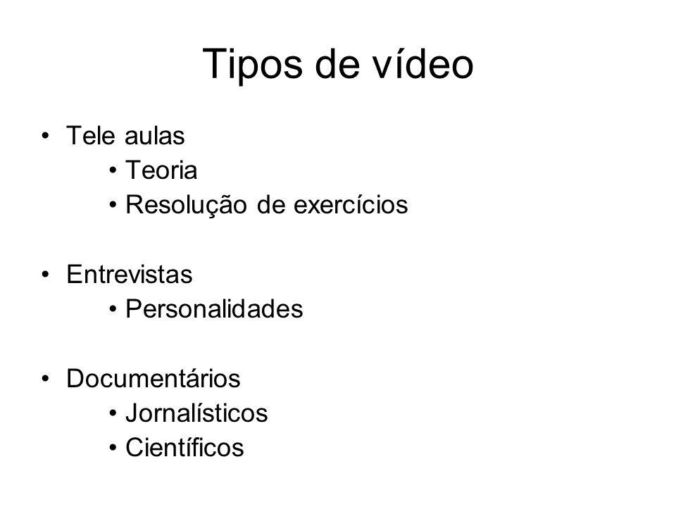 Tipos de vídeo Tele aulas Teoria Resolução de exercícios Entrevistas Personalidades Documentários Jornalísticos Científicos