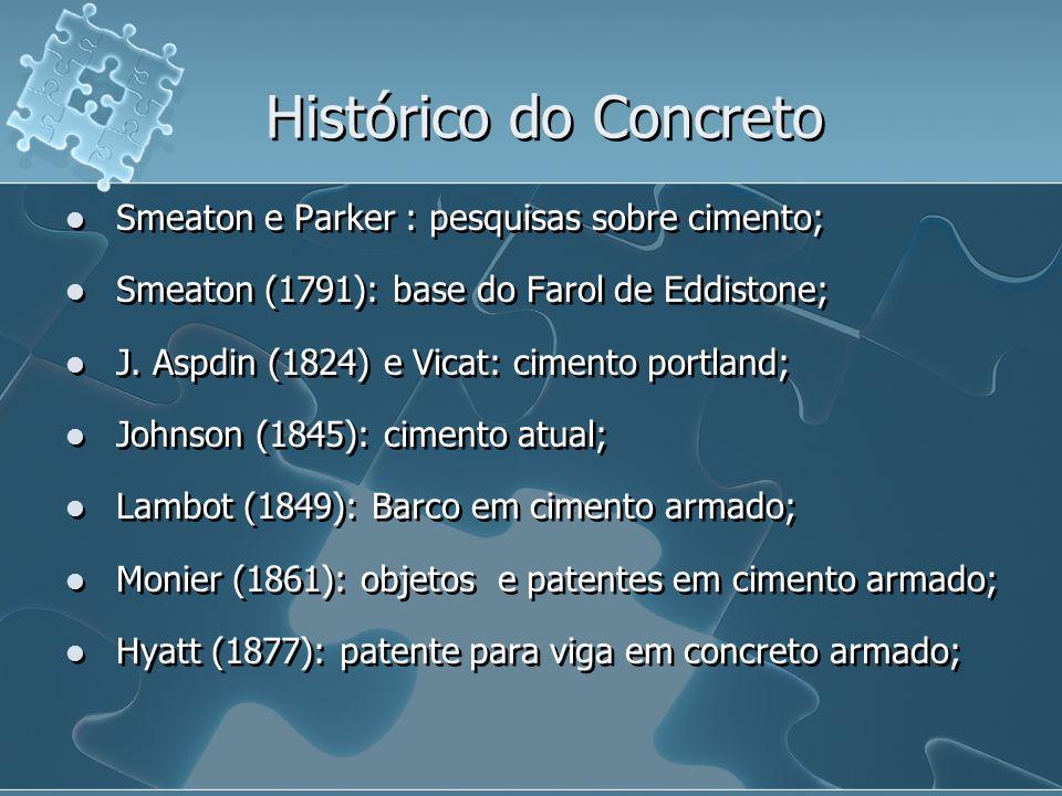 Smeaton e Parker : pesquisas sobre cimento; Smeaton (1791): base do Farol de Eddistone; J. Aspdin (1824) e Vicat: cimento portland; Johnson (1845): ci