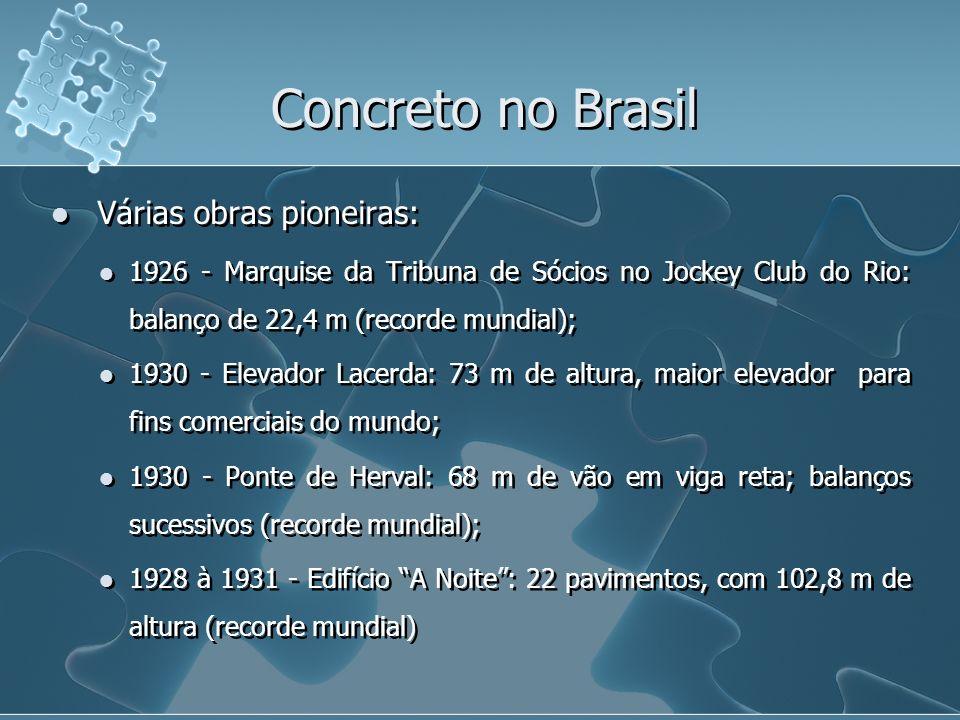 Várias obras pioneiras: 1926 - Marquise da Tribuna de Sócios no Jockey Club do Rio: balanço de 22,4 m (recorde mundial); 1930 - Elevador Lacerda: 73 m