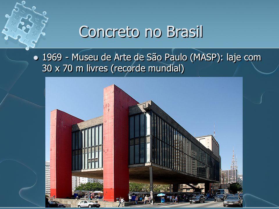 1969 - Museu de Arte de São Paulo (MASP): laje com 30 x 70 m livres (recorde mundial) Concreto no Brasil