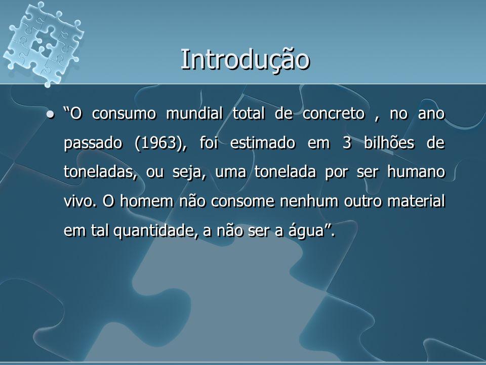 Introdução O consumo mundial total de concreto, no ano passado (1963), foi estimado em 3 bilhões de toneladas, ou seja, uma tonelada por ser humano vi