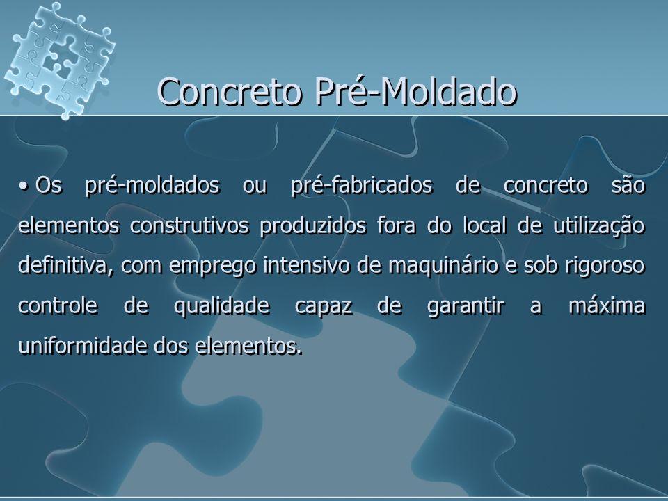 Concreto Pré-Moldado Os pré-moldados ou pré-fabricados de concreto são elementos construtivos produzidos fora do local de utilização definitiva, com e