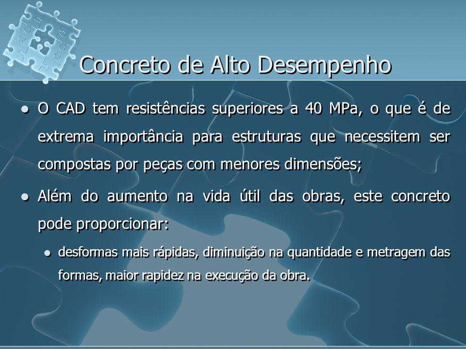 Concreto de Alto Desempenho O CAD tem resistências superiores a 40 MPa, o que é de extrema importância para estruturas que necessitem ser compostas po