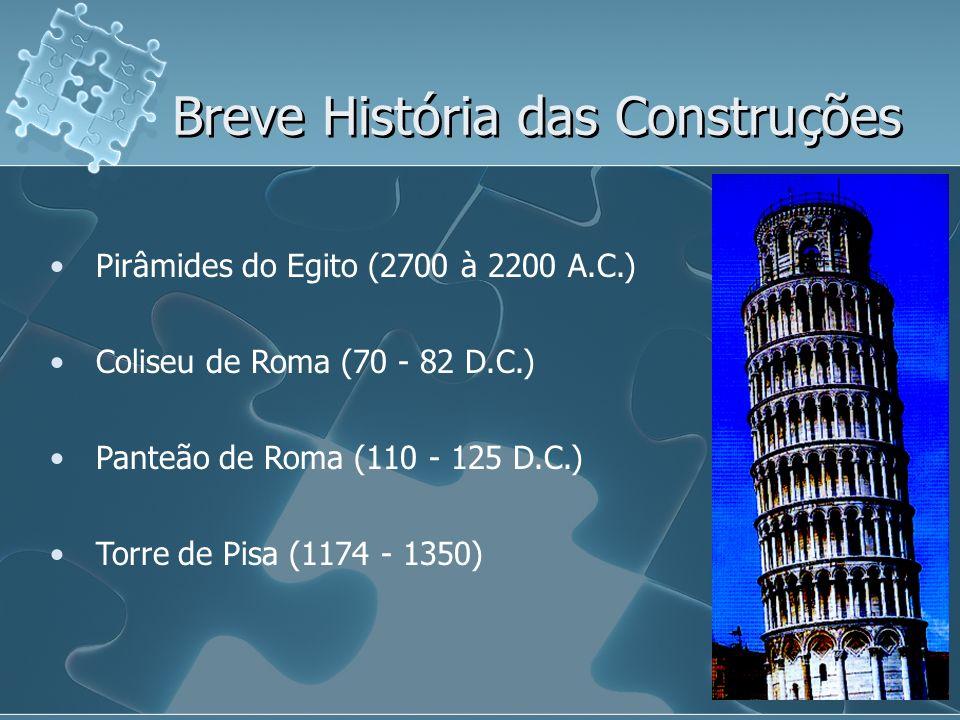 Pirâmides do Egito (2700 à 2200 A.C.) Coliseu de Roma (70 - 82 D.C.) Panteão de Roma (110 - 125 D.C.) Torre de Pisa (1174 - 1350) Breve História das C