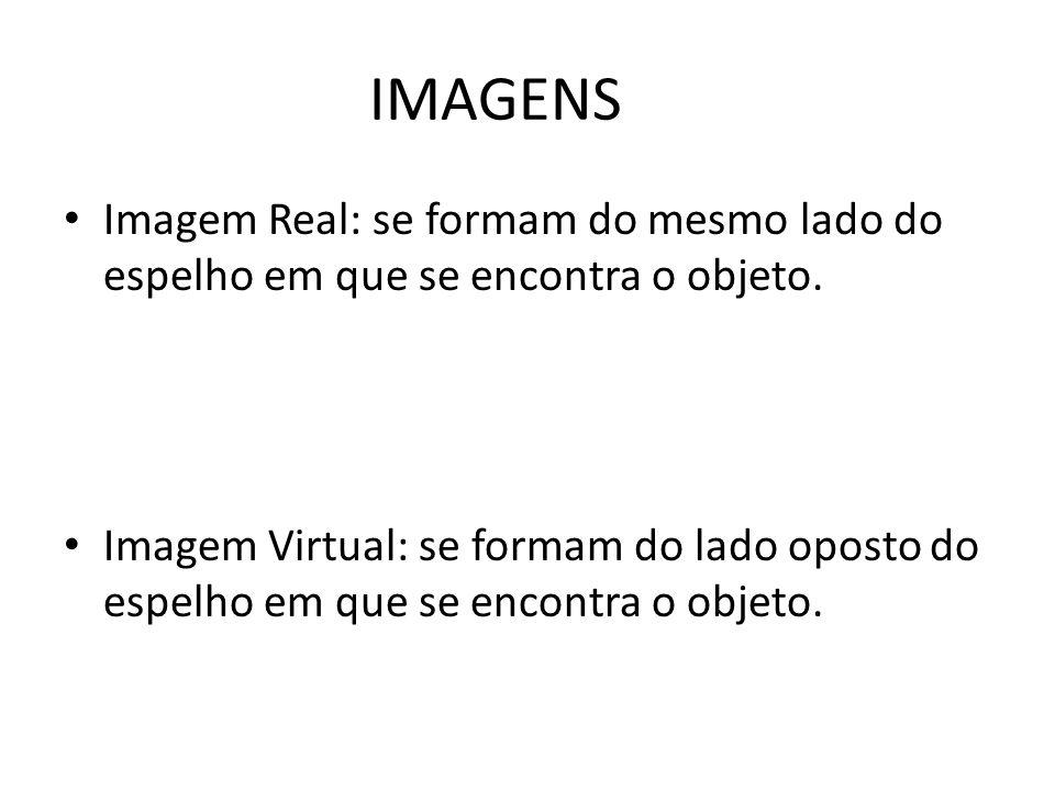 IMAGENS Imagem Real: se formam do mesmo lado do espelho em que se encontra o objeto. Imagem Virtual: se formam do lado oposto do espelho em que se enc