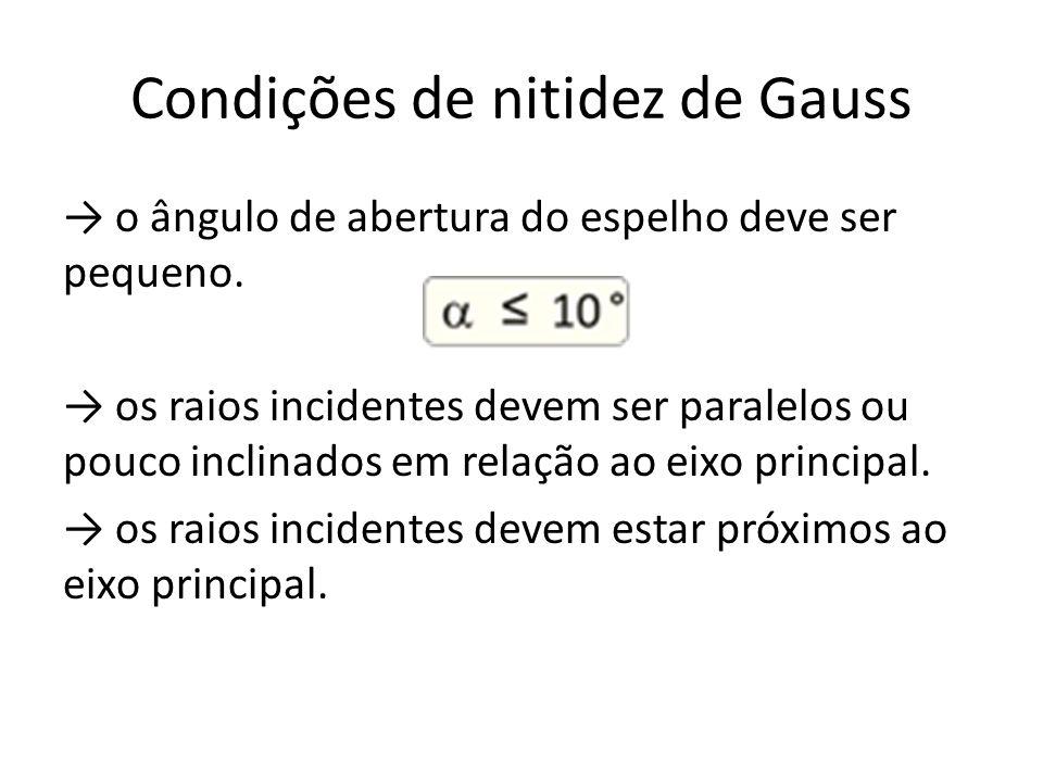 Condições de nitidez de Gauss o ângulo de abertura do espelho deve ser pequeno. os raios incidentes devem ser paralelos ou pouco inclinados em relação