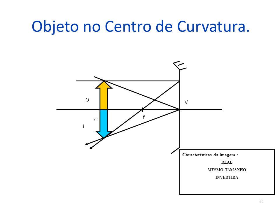 Objeto no Centro de Curvatura. 26 V f C O i Características da imagem : REAL MESMO TAMANHO INVERTIDA