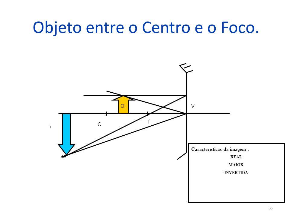 Objeto entre o Centro e o Foco. 27 V f C O i Características da imagem : REAL MAIOR INVERTIDA