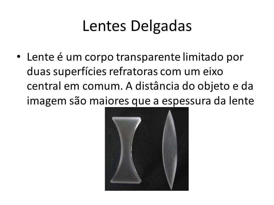 Lentes Delgadas Lente é um corpo transparente limitado por duas superfícies refratoras com um eixo central em comum. A distância do objeto e da imagem
