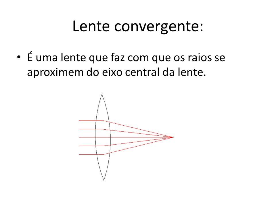 Lente convergente: É uma lente que faz com que os raios se aproximem do eixo central da lente.