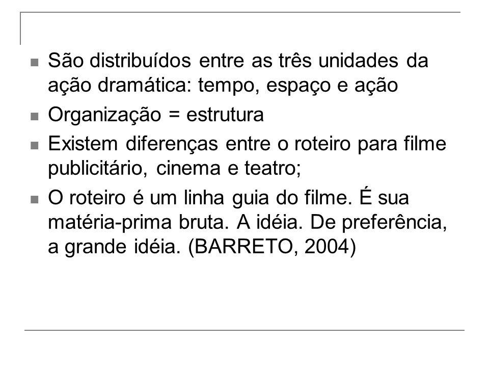 São distribuídos entre as três unidades da ação dramática: tempo, espaço e ação Organização = estrutura Existem diferenças entre o roteiro para filme publicitário, cinema e teatro; O roteiro é um linha guia do filme.
