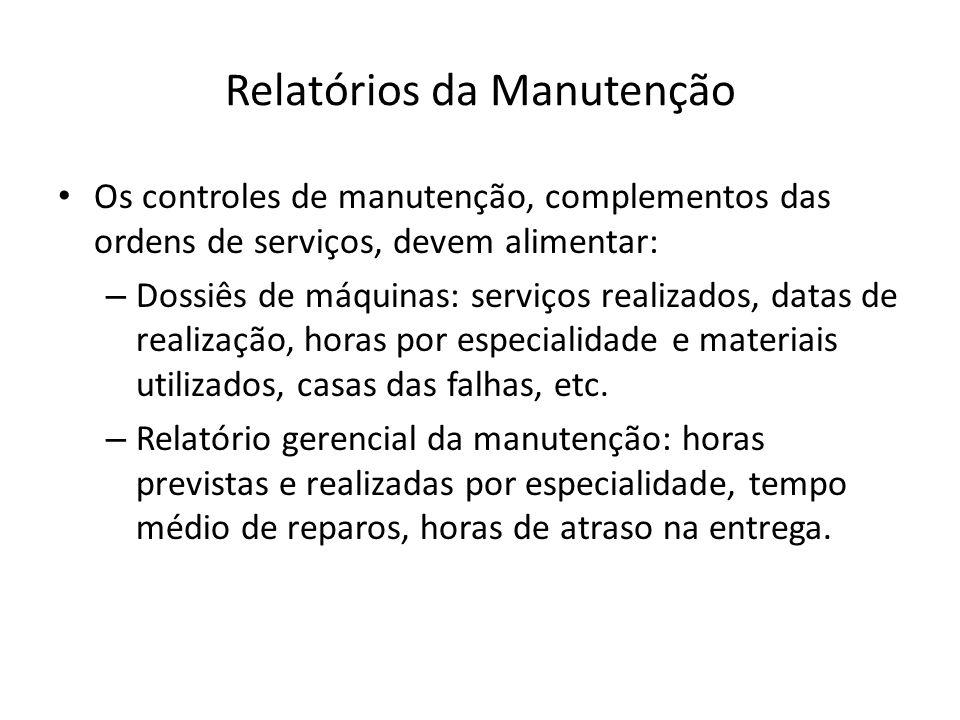 Relatórios da Manutenção Os controles de manutenção, complementos das ordens de serviços, devem alimentar: – Dossiês de máquinas: serviços realizados,