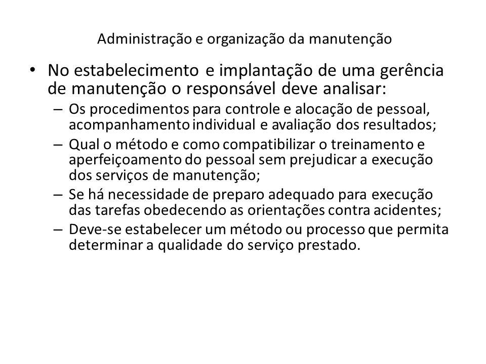 Administração e organização da manutenção No estabelecimento e implantação de uma gerência de manutenção o responsável deve analisar: – Os procediment