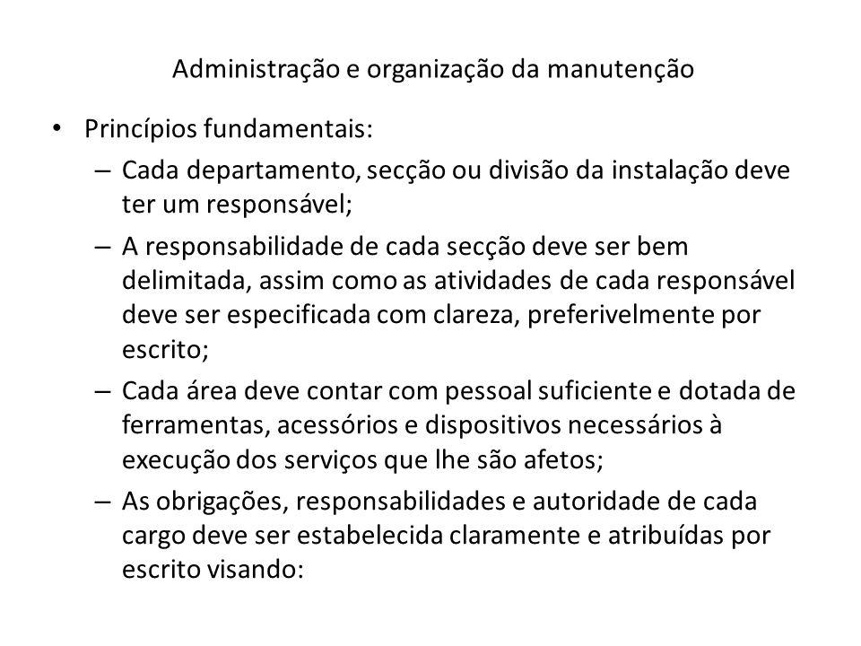 Administração e organização da manutenção Princípios fundamentais: – Cada departamento, secção ou divisão da instalação deve ter um responsável; – A r
