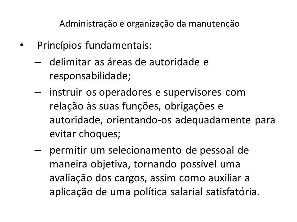 Administração e organização da manutenção Princípios fundamentais: – delimitar as áreas de autoridade e responsabilidade; – instruir os operadores e s
