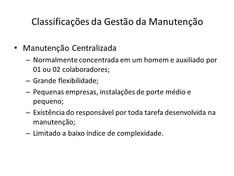 Classificações da Gestão da Manutenção Manutenção Centralizada – Normalmente concentrada em um homem e auxiliado por 01 ou 02 colaboradores; – Grande