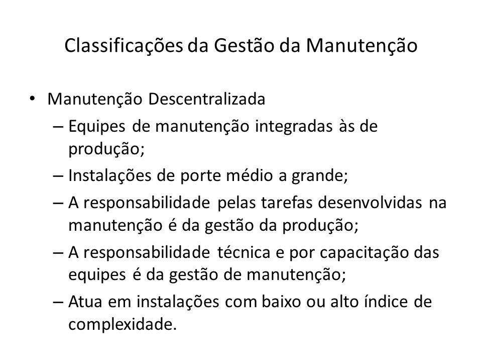 Classificações da Gestão da Manutenção Manutenção Descentralizada – Equipes de manutenção integradas às de produção; – Instalações de porte médio a gr