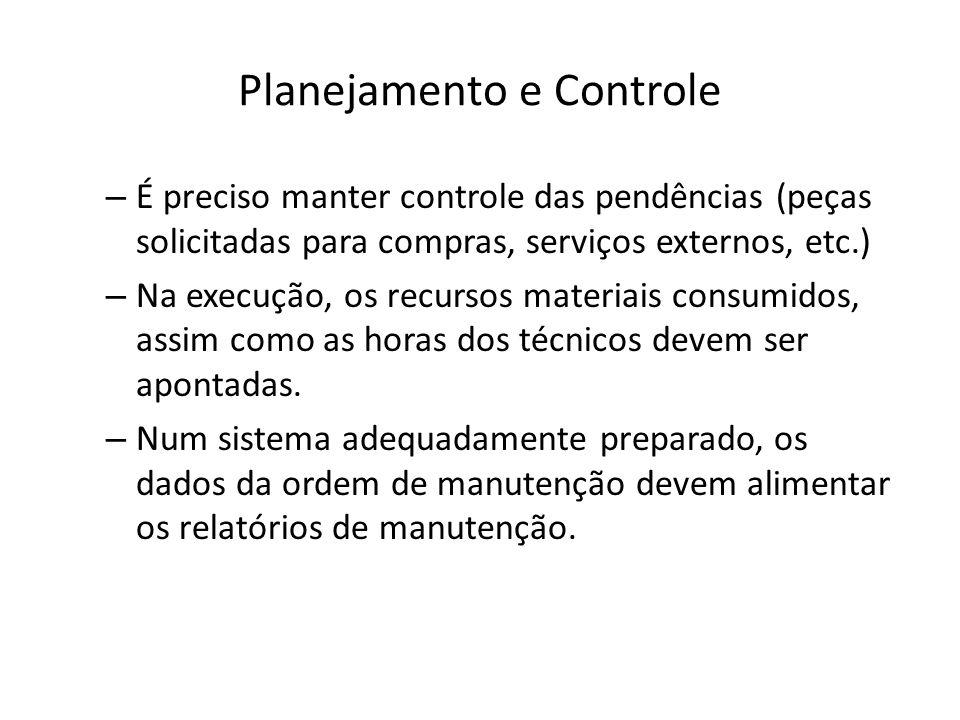 Planejamento e Controle – É preciso manter controle das pendências (peças solicitadas para compras, serviços externos, etc.) – Na execução, os recurso