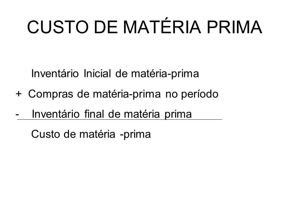 CUSTO DE MATÉRIA PRIMA Inventário Inicial de matéria-prima + Compras de matéria-prima no período - Inventário final de matéria prima Custo de matéria