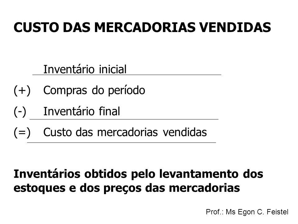 CUSTO DAS MERCADORIAS VENDIDAS Inventário inicial (+)Compras do período (-)Inventário final (=)Custo das mercadorias vendidas Inventários obtidos pelo