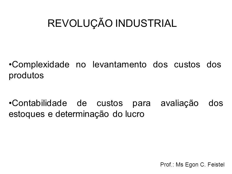 Contabilidade de custos para avaliação dos estoques e determinação do lucro Complexidade no levantamento dos custos dos produtos Prof.: Ms Egon C. Fei