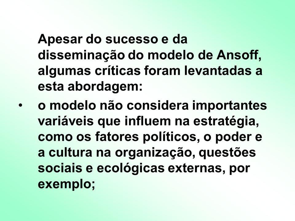 Apesar do sucesso e da disseminação do modelo de Ansoff, algumas críticas foram levantadas a esta abordagem: o modelo não considera importantes variáveis que influem na estratégia, como os fatores políticos, o poder e a cultura na organização, questões sociais e ecológicas externas, por exemplo;