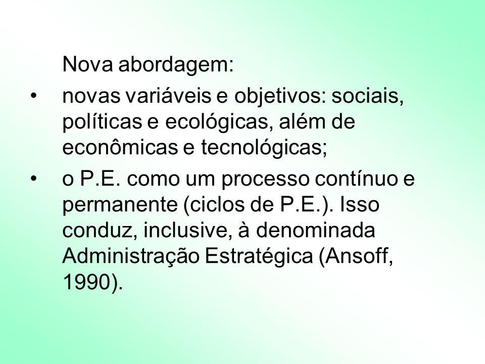 Nova abordagem: novas variáveis e objetivos: sociais, políticas e ecológicas, além de econômicas e tecnológicas; o P.E.