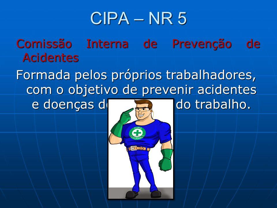 CIPA – NR 5 Comissão Interna de Prevenção de Acidentes Comissão Interna de Prevenção de Acidentes Formada pelos próprios trabalhadores, com o objetivo