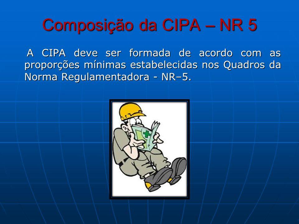 Composição da CIPA – NR 5 A CIPA deve ser formada de acordo com as proporções mínimas estabelecidas nos Quadros da Norma Regulamentadora - NR–5. A CIP