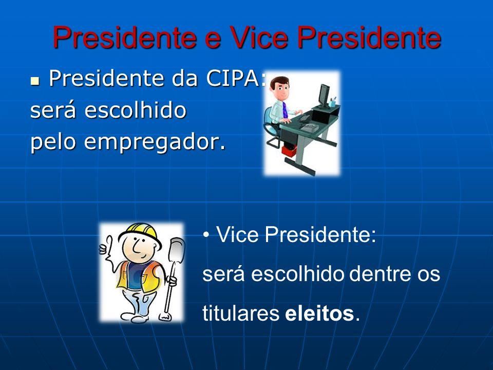 Presidente e Vice Presidente Presidente da CIPA: Presidente da CIPA: será escolhido pelo empregador. Vice Presidente: será escolhido dentre os titular