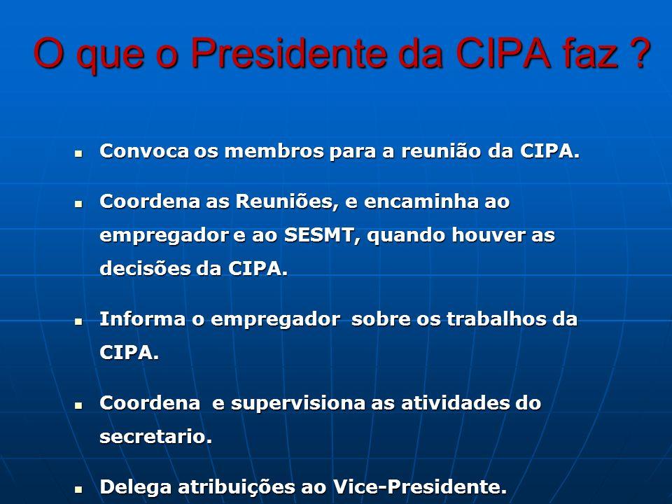 O que o Presidente da CIPA faz ? Convoca os membros para a reunião da CIPA. Convoca os membros para a reunião da CIPA. Coordena as Reuniões, e encamin