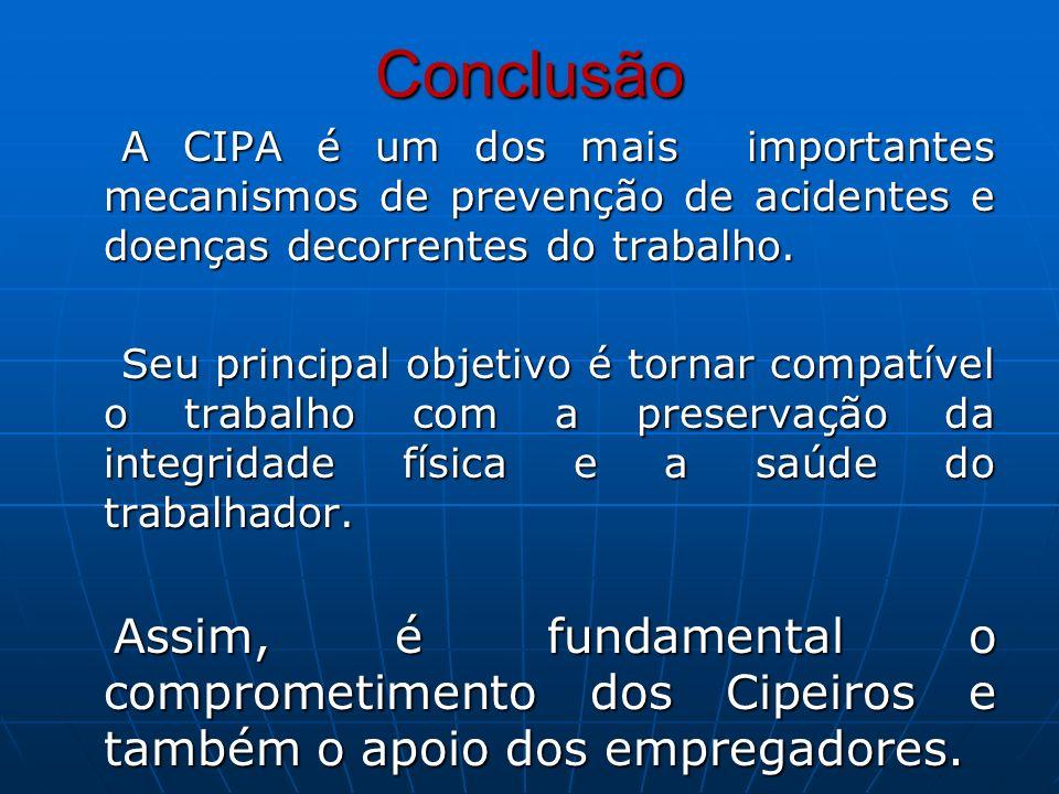 Conclusão A CIPA é um dos mais importantes mecanismos de prevenção de acidentes e doenças decorrentes do trabalho. A CIPA é um dos mais importantes me