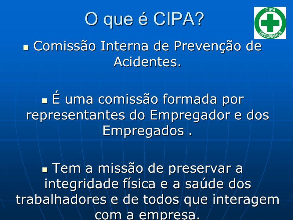 O que é CIPA? Comissão Interna de Prevenção de Acidentes. Comissão Interna de Prevenção de Acidentes. É uma comissão formada por representantes do Emp
