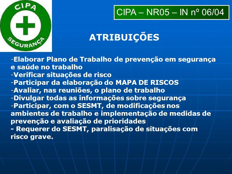 -Elaborar Plano de Trabalho de prevenção em segurança e saúde no trabalho -Verificar situações de risco -Participar da elaboração do MAPA DE RISCOS -A