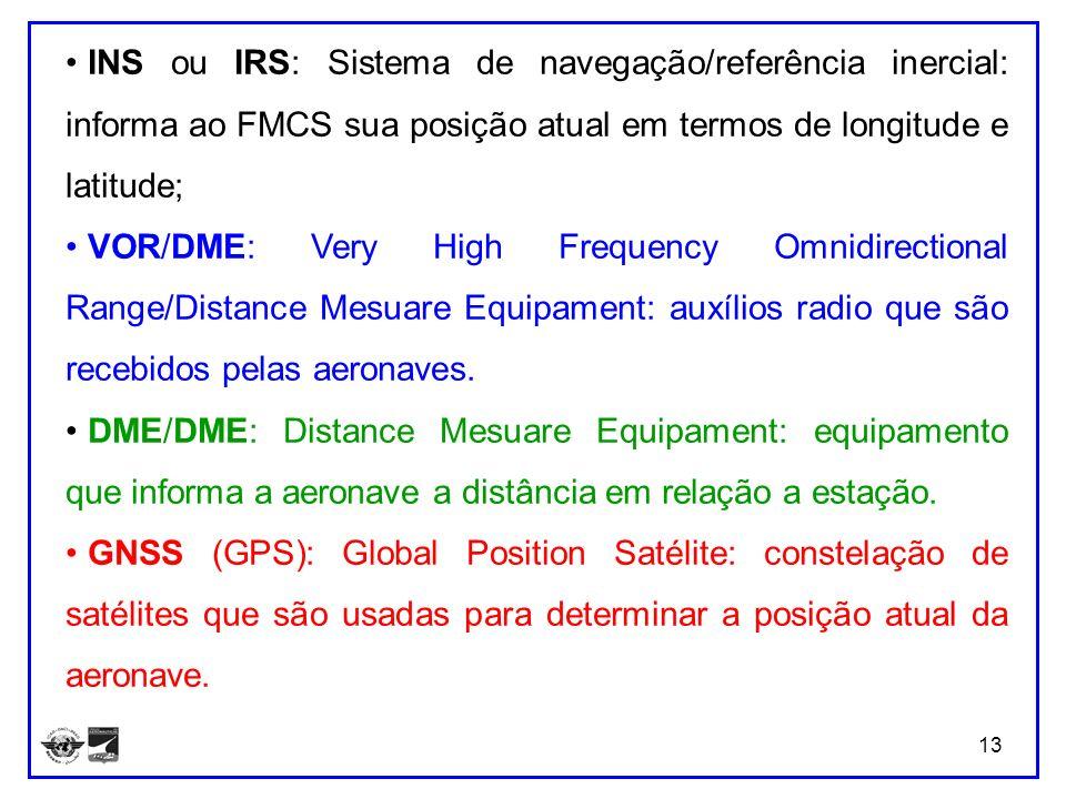 13 INS ou IRS: Sistema de navegação/referência inercial: informa ao FMCS sua posição atual em termos de longitude e latitude; VOR/DME: Very High Frequ