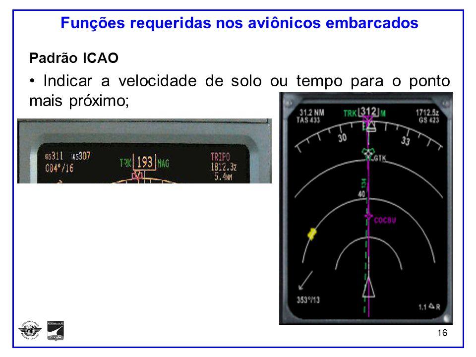 16 Funções requeridas nos aviônicos embarcados Padrão ICAO Indicar a velocidade de solo ou tempo para o ponto mais próximo;