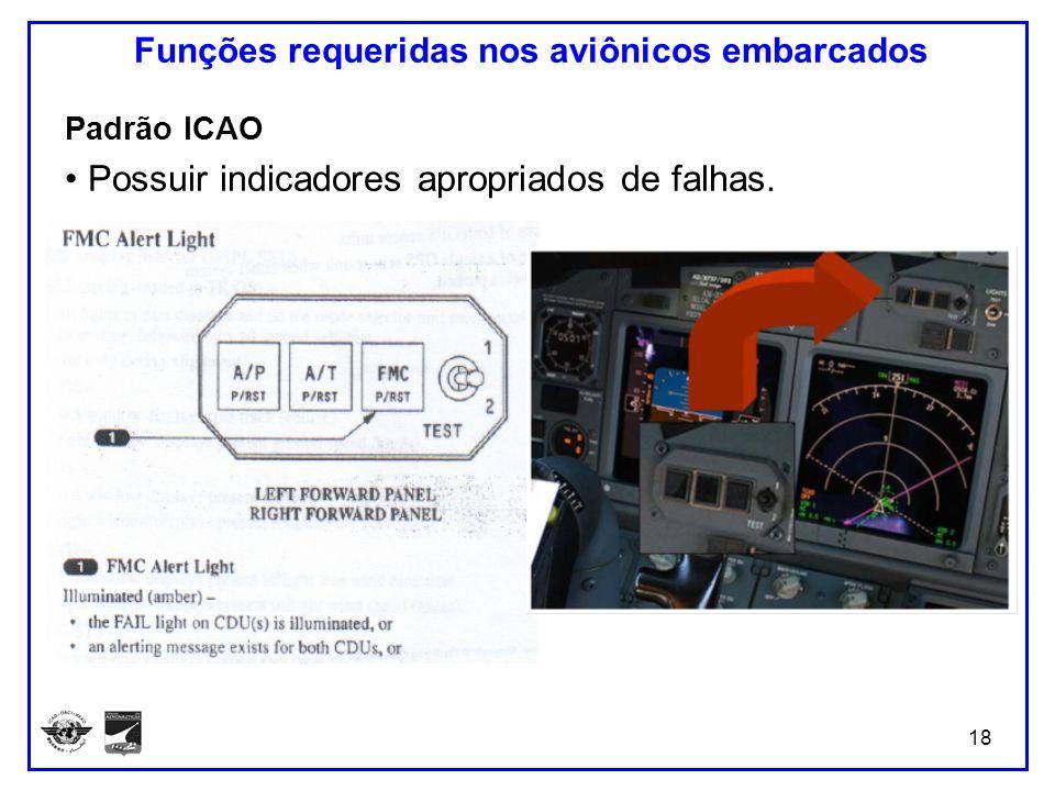 18 Funções requeridas nos aviônicos embarcados Padrão ICAO Possuir indicadores apropriados de falhas.