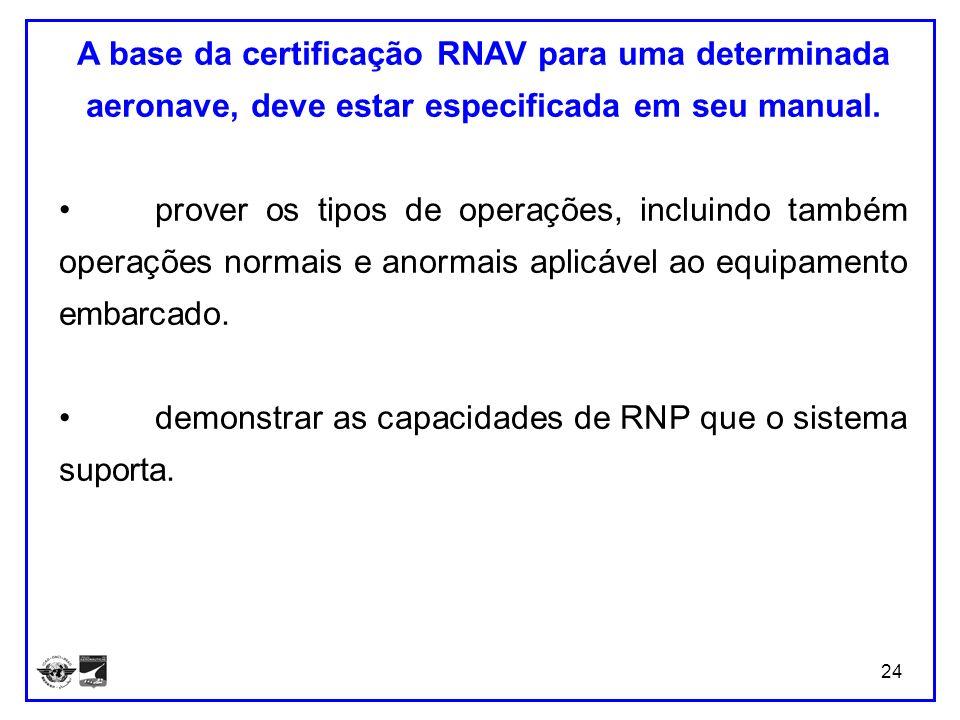 24 A base da certificação RNAV para uma determinada aeronave, deve estar especificada em seu manual. prover os tipos de operações, incluindo também op