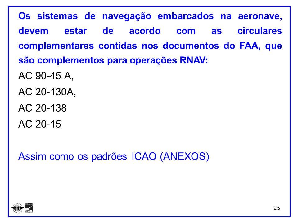 25 Os sistemas de navegação embarcados na aeronave, devem estar de acordo com as circulares complementares contidas nos documentos do FAA, que são com