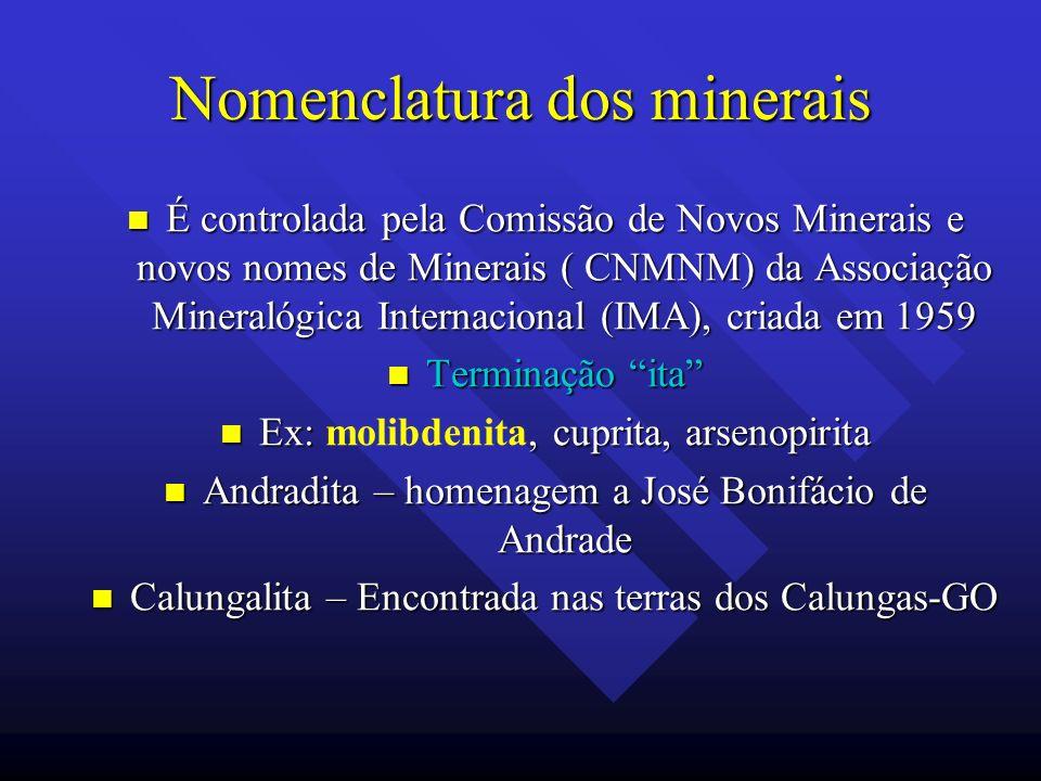 Nomenclatura dos minerais É controlada pela Comissão de Novos Minerais e novos nomes de Minerais ( CNMNM) da Associação Mineralógica Internacional (IM