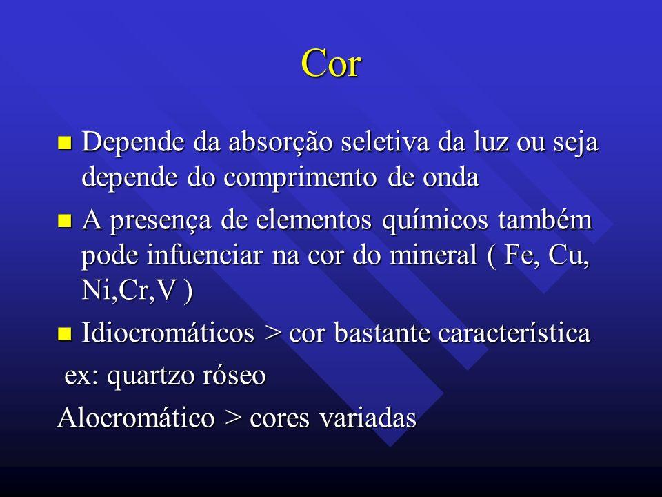 Cor Depende da absorção seletiva da luz ou seja depende do comprimento de onda Depende da absorção seletiva da luz ou seja depende do comprimento de o