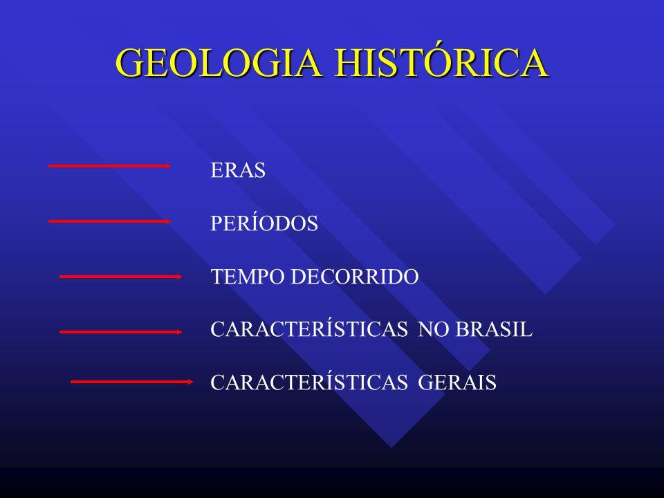 GEOLOGIA HISTÓRICA ERAS PERÍODOS TEMPO DECORRIDO CARACTERÍSTICAS NO BRASIL CARACTERÍSTICAS GERAIS