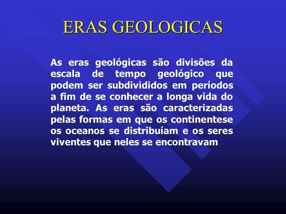 ERAS GEOLOGICAS As eras geológicas são divisões da escala de tempo geológico que podem ser subdivididos em períodos a fim de se conhecer a longa vida