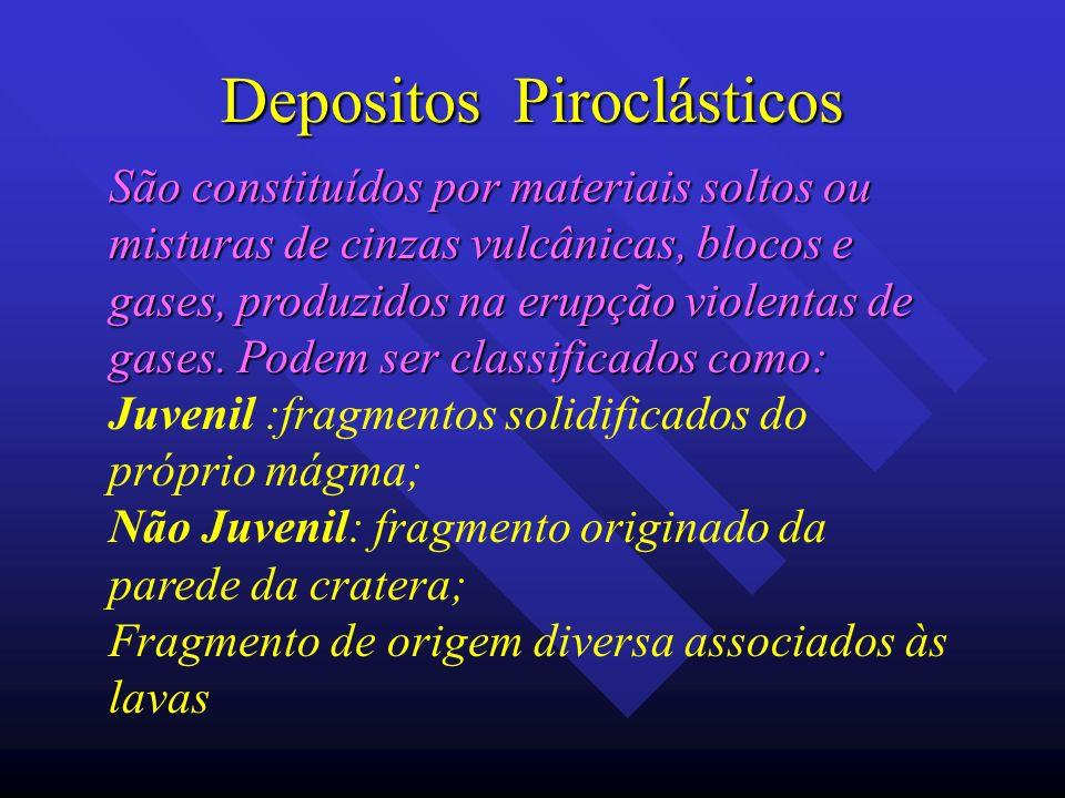 Depositos Piroclásticos São constituídos por materiais soltos ou misturas de cinzas vulcânicas, blocos e gases, produzidos na erupção violentas de gas
