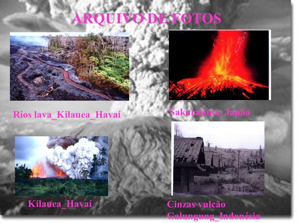 ARQUIVO DE FOTOS Rios lava_Kilauea_Havaí Sakurajima_Japão Cinzas vulcão Galungung_Indonésia Kilauea_Havaí