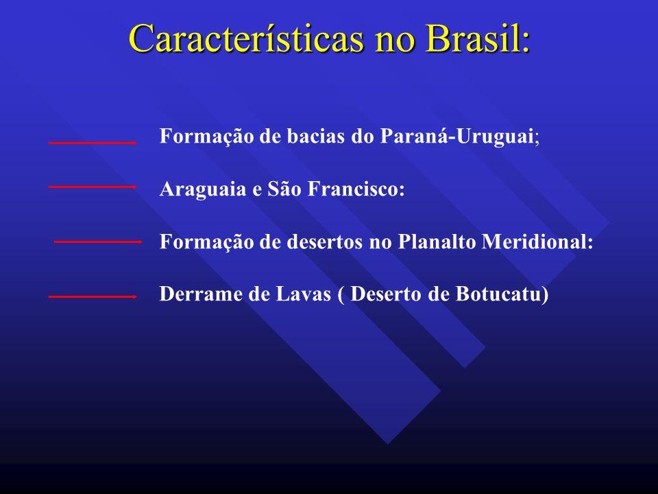 Características no Brasil: Formação de bacias do Paraná-Uruguai; Araguaia e São Francisco: Formação de desertos no Planalto Meridional: Derrame de Lav
